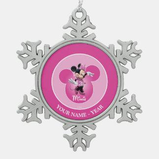Pink Minnie | Mickey Head Icon Snowflake Pewter Christmas Ornament