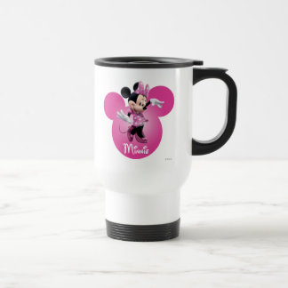 Pink Minnie   Mickey Head Icon Travel Mug