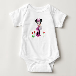 Pink Minnie   Tulips Baby Bodysuit