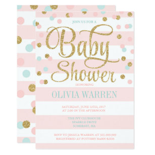 Pink Mint And Gold Baby Shower Invitation