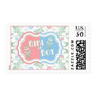 Pink Mint Blue Floral Gender Reveal Baby Shower Postage