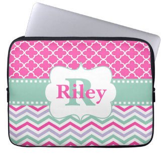 Pink Mint Chevron Monogram Laptop Sleeve