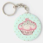 Pink Mint Chocolate Cupcake Keychain