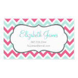 Pink & Mint Colorful Chevron Stripes Business Card