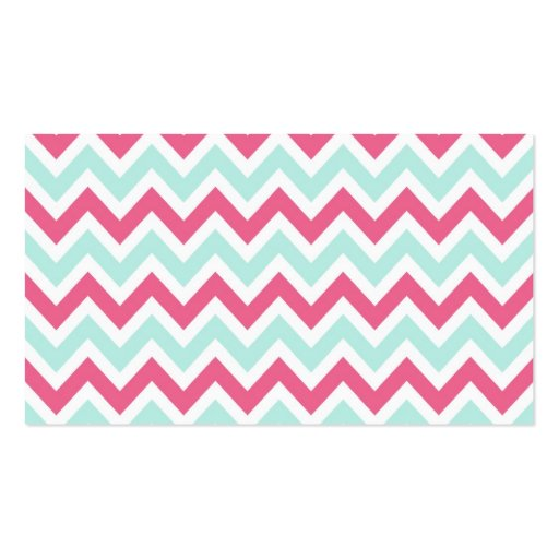 Pink & Mint Colorful Chevron Stripes Business Card (back side)