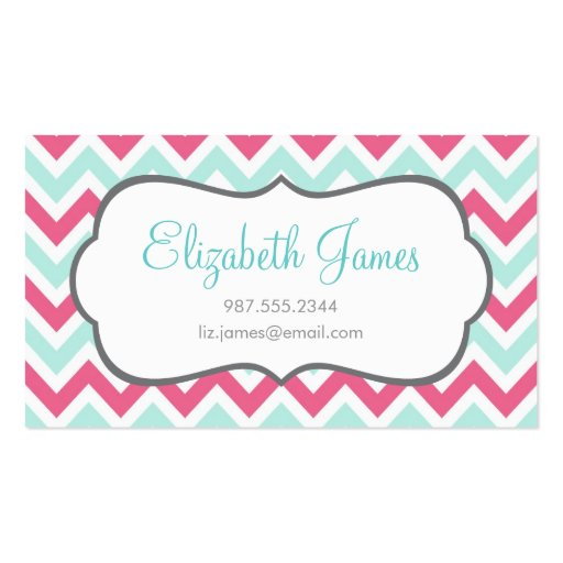 Pink & Mint Colorful Chevron Stripes Business Card (front side)