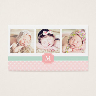 Pink Mint Dots Moroccan Photo Professional Business Card