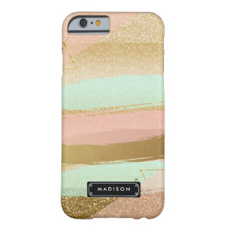 Pink Mint Fake Gold Glitter Girly Personalized Barely There iPhone 6 Case
