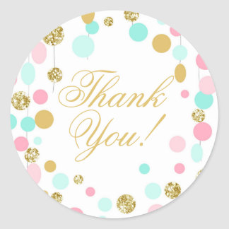 Pink Mint Gold Favor Tags Thank You Girl Birthday Classic Round Sticker