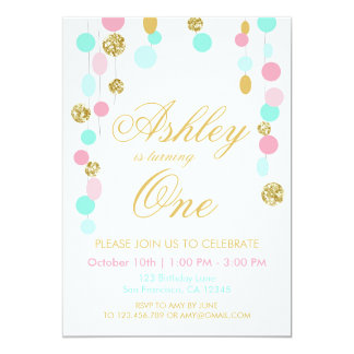 Pink Mint Gold Glitter Birthday invitation