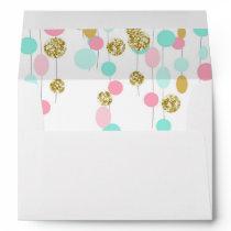 Pink Mint gold Glitter Envelope Girl Birthday