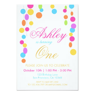Pink Mint Gold Rainbow Girl Birthday invitation