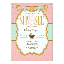 Pink Mint Gold Sip And See Invitation
