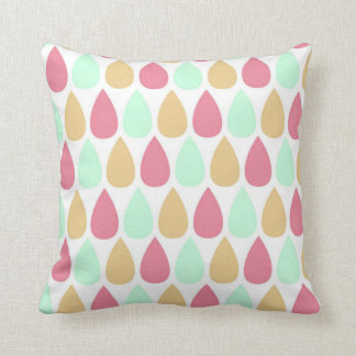 pink mint green and gold raindrop throw pillow