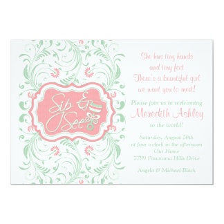 Pink Mint Green Floral Sip N See Baby Shower 5x7 Paper Invitation Card