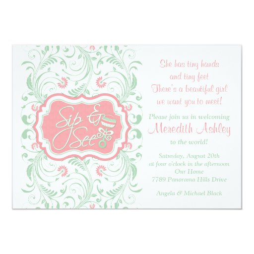 Pink Mint Green Floral Sip N See Baby Shower Card | Zazzle