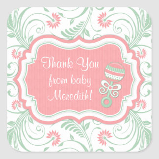 Pink Mint Green Floral Sip N See Baby Shower Favor Square Sticker