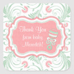 Pink Mint Green Floral Sip N See Baby Shower Favor Stickers