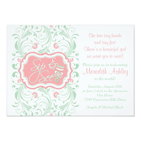 Pink mint green floral sip n see baby shower invitation zazzle pink mint green floral sip n see baby shower invitation filmwisefo