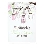 Pink Mint Green Mason Jars Baby Shower Invitation