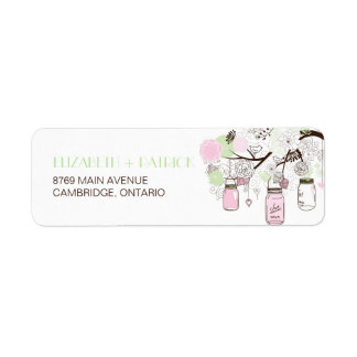 Pink & Mint Green Mason Jars Wedding Address Label