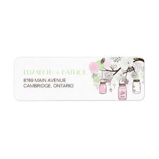 Pink Mint Green Mason Jars Wedding Address Label