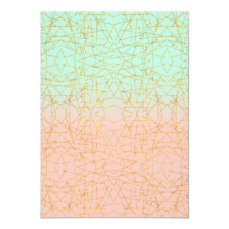 Pink Mint Green Ombre Gold Glitter Geometric Card