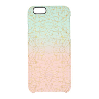 Pink Mint Green Ombre Gold Glitter Geometric Clear iPhone 6/6S Case