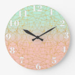 Pink Mint Green Ombre Gold Glitter Geometric Wall Clocks