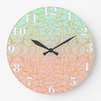 Pink Mint Green Ombre Gold Glitter Geometric Large Clock