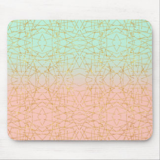Pink Mint Green Ombre Gold Glitter Geometric Mouse Pad