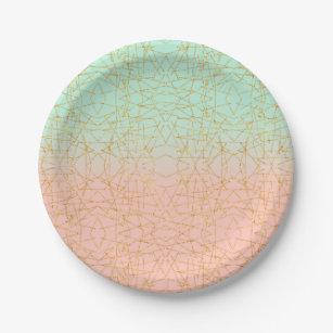Pink Mint Green Ombre Gold Glitter Geometric Paper Plate  sc 1 st  Zazzle & Mint Green Plates | Zazzle