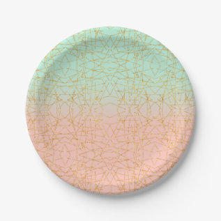 Pink Mint Green Ombre Gold Glitter Geometric Paper Plate at Zazzle