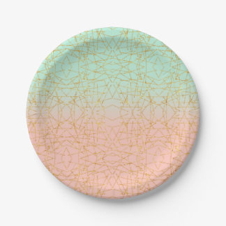 Pink Mint Green Ombre Gold Glitter Geometric Paper Plate