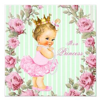 Pink Mint Green Rose Ballerina Baby Shower Card