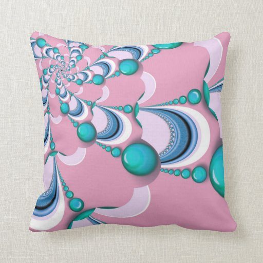 Pink   Mint Groovy Swirl Fractal Cushion