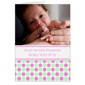 Pink Mint It's a Girl Photo Birth Announcement