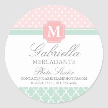 Professional Business Pink Mint Polka Dots Moroccan Business Custom Classic Round Sticker