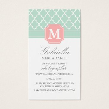 Professional Business Pink Mint | Polka Dots Moroccan | Monogrammed Business Card