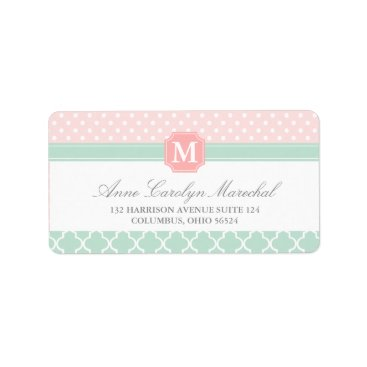 Professional Business Pink Mint | Polka Dots Moroccan | Monogrammed Label
