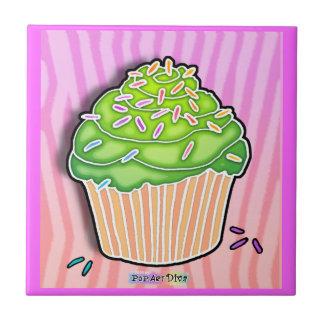 Pink & Mint Pop Art Cupcake Tile