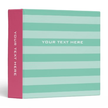Professional Business Pink mint striped binder | Custom office supplies