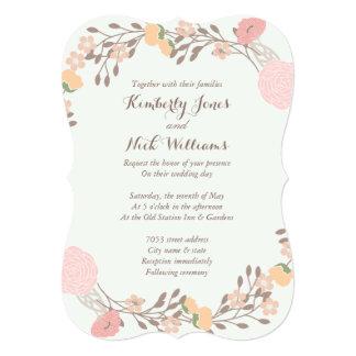 Pink Mint Sweet Floral Wreath Wedding Invite