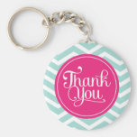 Pink Mint Teal Thank You Chevrons Keychains
