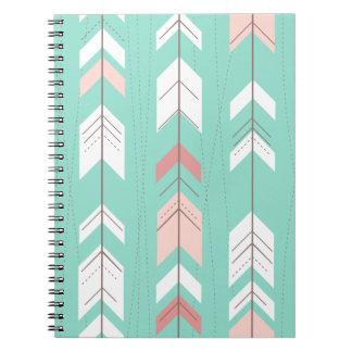 Pink Mint Tribal Aztec Spiral Notebook