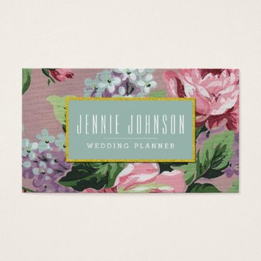 Professional Business Pink Mint Vintage Floral Business Card