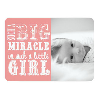 Pink Miracle Girl | Photo Birth Announcement