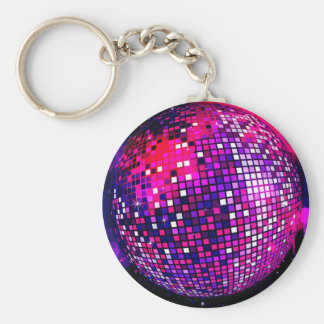 Pink Mirror Ball Basic Round Button Keychain