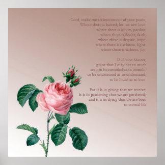 Pink Mist Rose Prayer Poster