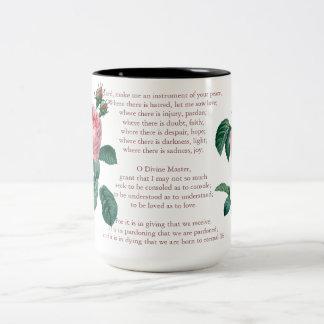 Pink Mist Rose Prayer Two-Tone Coffee Mug